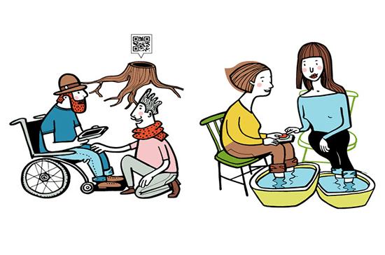 illustrationer av olika situationer där man kan använda hjälpmedel.