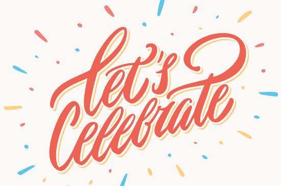"Text där det står"" Let´s celebrate"""