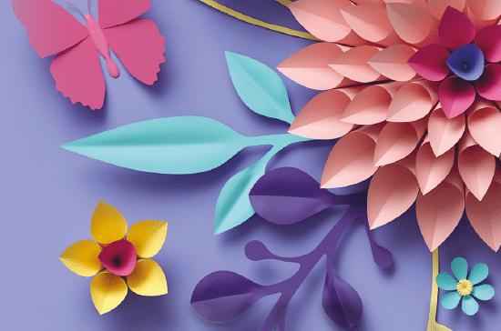 Blommor och fjärilar på lila bakgrund